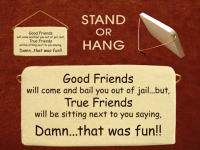 Good friends will come and bail you out of jail but true friends will be sitting next to you saying damn that was fun